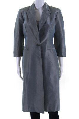 Carolina Herrera Womens Long Sleeve V-Neck Dress Coat Blue Size 4