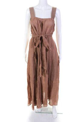 Le Kasha Womens Assiout Linen Gauze Midi Length Dress Light Pink Size Large