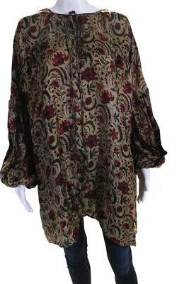 Uma Wang Womens Long Sleeve Floral Keyhole Tierra Top Brown Size Medium