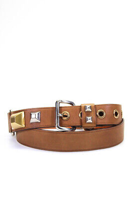 Prada Womens Leather Gold Silver Tone Studded Belt Tan Brown Size 36
