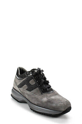 Hogan Womens Suede Lace Up Sneakers Gray Size 39.5