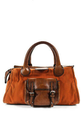 Chloe Womens Canvas Edith Handle Shoulder Handbag Orange Brown