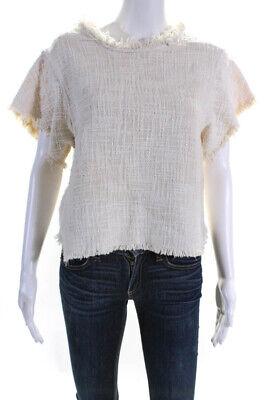IRO Womens Cotton Tweed Fringe Hemmed Blouse Top Beige Size 6