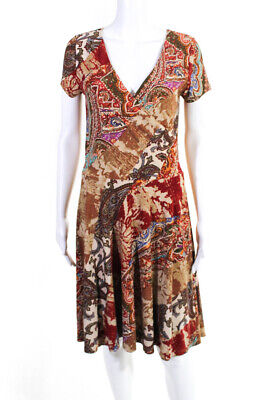 Lauren Ralph Lauren Womens Paisley Printed Dress Red Brown Size Medium