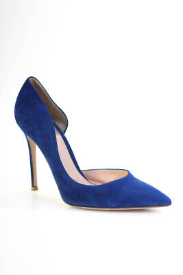 Gianvito Rossi Womens Suede Pointed Toe High Heels Pumps Blue Size 39.5 9.5