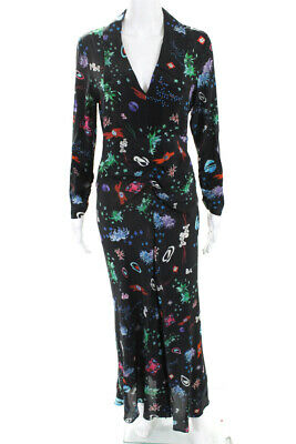 Rixo Womens Collared Open Back Floral Space Age Maxi Dress Black Silk Size XS