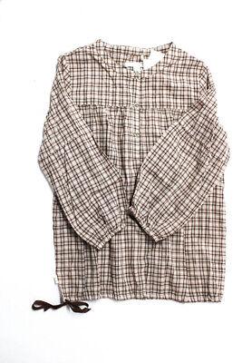Marie Chantal  Childrens Girls Blouse Pink Brown Plaid Print Size -