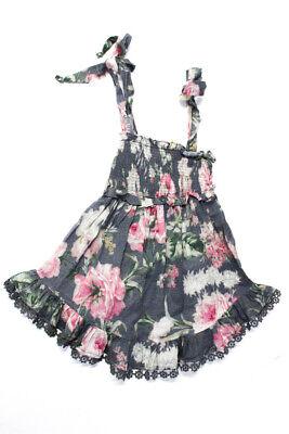 Zimmermann Girls Cotton Sleeveless Smocked Floral Day Dress Grey Size 1