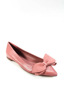 Tory Burch Womens Leather Pointed Toe Bow Flats Rose Pink Size 8.5