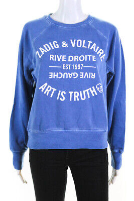 Zadig & Voltaire Womens Knit Printed Crew Neck Pullover Sweatshirt Blue Size XS