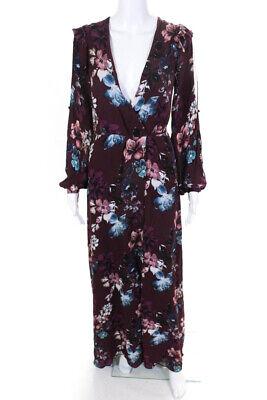 Nicholas Womens Burgundy Floral V Neck Wrap Maxi Dress Silk Red Size 2 LL19LL
