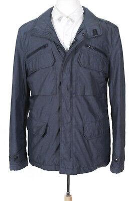 Fay Mens Zip Up Pocket Front High Neck Coat Blue Size Medium