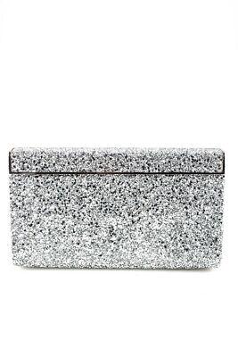 Jimmy Choo Womens Glitter Clutch Handbag Silver