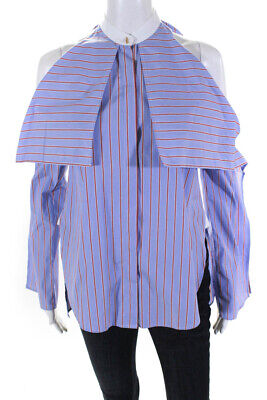Rosetta Getty Womens Cold Shoulder Cotton Striped Blouse Blue Red Size S LL19LL