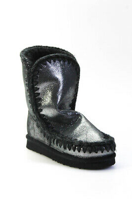 Mou Womens Metallic Shearling Ankle Boots Black Size 35.5 5.5