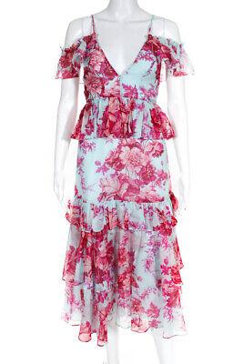 Alice McCall Womens Floral print Flamingo Midi Dress Blue Pink Cotton Size 0