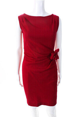 Paul & Joe Womens Sleeveless Boat Neck Mini Sheath Dress Red Wool Size FR 38