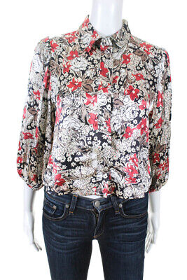 Ganni Womens 3/4 Sleeve Cropped Floral Satin Snap Blouse Ivory Size EU 34