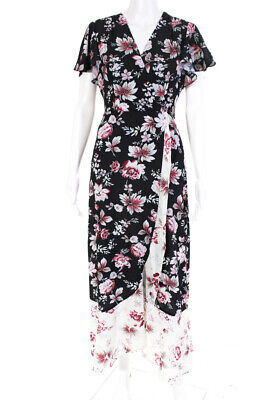 French Connection Womens Short Sleeve V-Neck Floral Maxi Dress Black Size 4