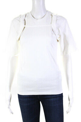 Dion Lee Womens Cotton Short Sleeve Crew Neck Rib Holster Tee Ivory Size XS