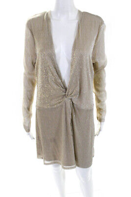 Majorelle Women's Long Sleeve Front Knot Shift Dress Beige Size Extra Large Long Sleeve Knot Front Dress