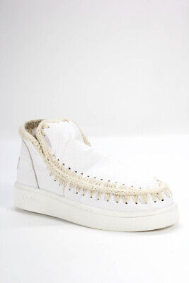 Mou Womens High Top Casual Slip On Sneakers White Embossed Leather Size 9