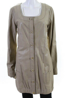 Elie Tahari Womens Scoop Neck Longline Leather Coat Beige Size Medium