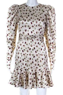 ROTATE Womens Shelly Raspberry Print Long Sleeve Sheath Dress Beige Size EU 38