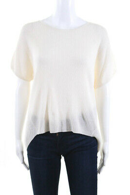 Theory Womens Short Sleeve Scoop Neck Sweater White Wool Size Small