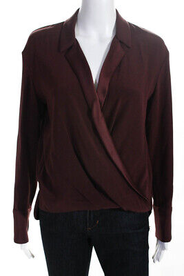 Hellessy Womens Silk Long Sleeve Wrap Collar Blouse Maroon Red Size 4