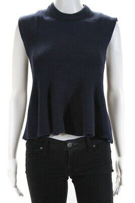 3.1 Phillip Lim Womens Sleeveless Crew Neck Knit Blouse Top Navy Blue Size S
