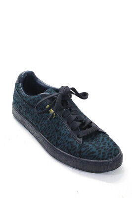 Puma House Of Hackney Womens Leopard Print Low Top Lace Up Sneakers Blue Size 9