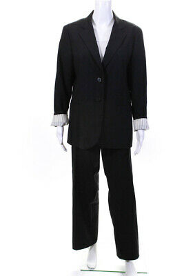 Theory Womens Wide Leg Rory Pant Suit Black Wool Size 12/10