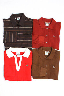Lacoste Womens Long Sleeve Button Down Shirts Polos Tops Cotton Size 6 40 Lot 4