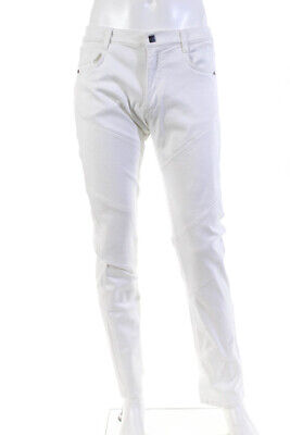 Versace Mens Jeans Embroidered Pocket White Size 34