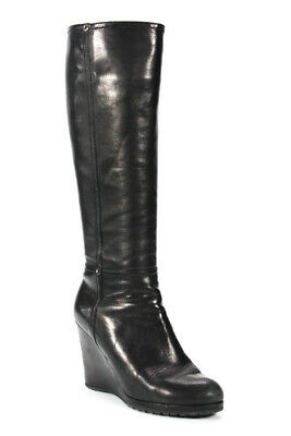 Prada Womens Knee High Wedges Boots Pumps Black Leather Size EUR 36.5