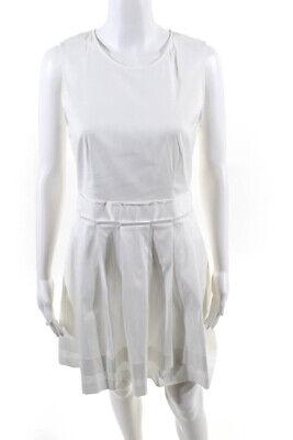 Theory Womens Cotton Sleeveless Round Neck A-Line Dress White 6