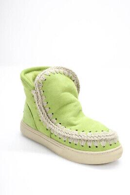 Mou Girls Sheepskin Wool Eskimo Sneaker Green Size 35 European/3.5