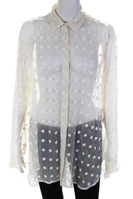 IRO Womens Sheer Embroidered Long Sleeve Button Down Collar Blouse White Size 40