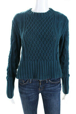 Acne Womens Cotton Cable Knit Sweater Teal Size Extra Small