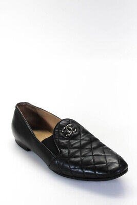 Chanel Womens Quilted Leather CC Loafers Flat Shoes Black Size 38.5