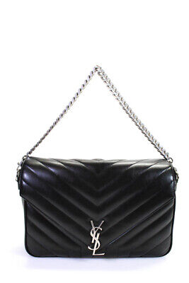 YSL  Womens LouLou Medium Handbag Black Quilted Chevron Leather