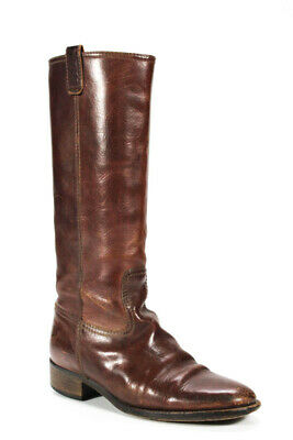 J Crew Womens Low Heeled Pull-On Mid-Calf Riding Boots Brown Leather Size 7.5