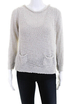 3.1 Phillip Lim Womens Long Sleeve Sweater White Textured Cotton Size Small