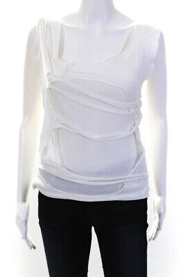 Hussein Chalayan Womens Distressed Tank Top White Cotton Size EUR 42