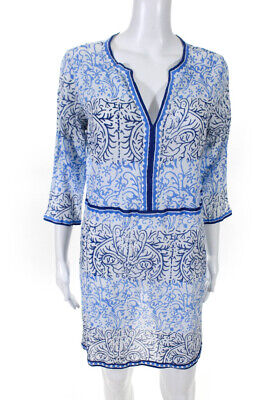Le Sirenuse Womens V Neck Tunic Top White Blue Abstract Print Size 46