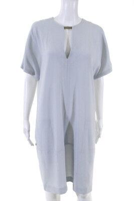 Joseph Womens Silver Clasped Short Sleeve Y-Neckline Dress Blue Size Eur 40