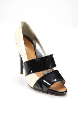 Giuseppe Zanotti Design Womens Patent Leather Open Toe Pumps White Black Size 37