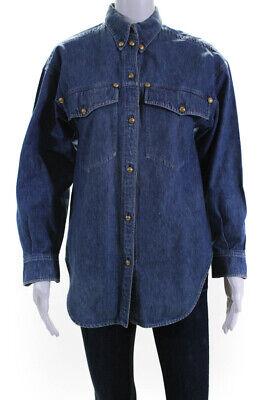 Gianni Versace Womens Vintage Denim Button Down Shirt Blue Size Euro 38