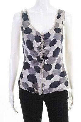 Armani Collezioni Womens Silk Lace Trim Polka Dot Tank Top Gray Navy Blue Size 2